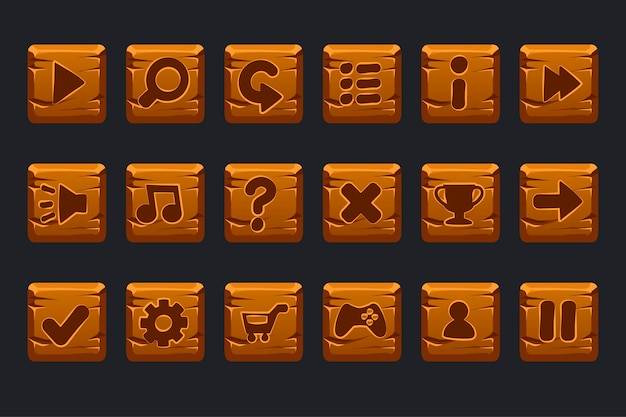 Set di pulsanti quadrati in legno dei cartoni animati per gui dell'interfaccia utente grafica