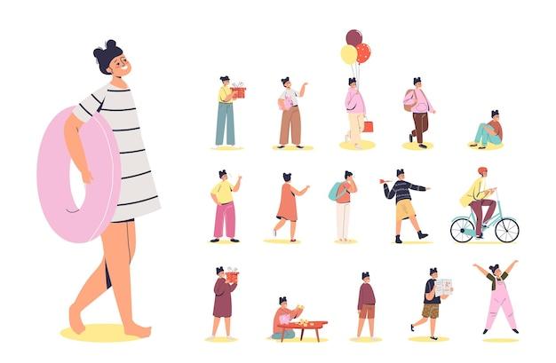 Set di cartone animato giovane o bambina che tiene l'anello di nuoto in diverse situazioni e pose di stile di vita: andare in bicicletta, salvadanaio rotto e tenere in mano una confezione regalo. illustrazione vettoriale piatta