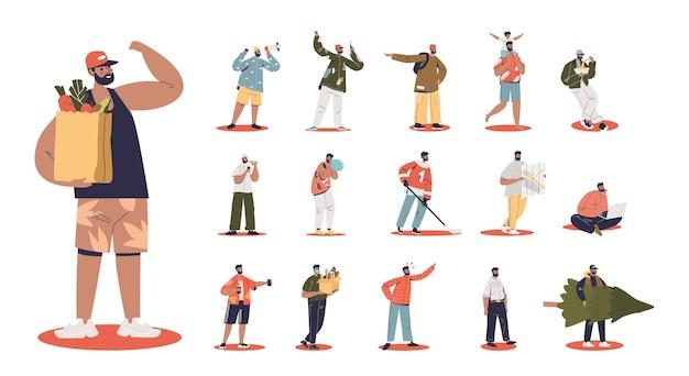 Set di cartoni animati da giovane tenere borse della spesa con verdure in diverse situazioni e pose