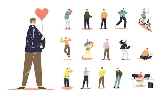 Set di cartone animato giovane in felpa con cappuccio che tiene mongolfiera a forma di cuore in diverse situazioni e pose: andare in bicicletta, lavorare su computer o laptop, giocare, correre. illustrazione vettoriale piatta