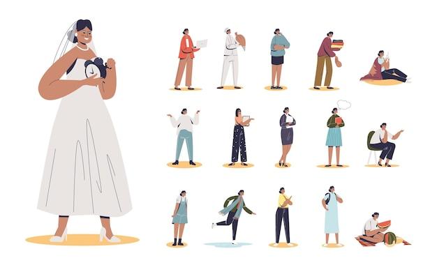 Set di cartone animato giovane donna sposa che indossa abito da sposa in diverse situazioni di stile di vita e pose: andare in bicicletta, lavorare su computer o laptop, giocare, correre. illustrazione vettoriale piatta