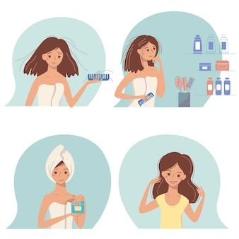 Set di cartone animato giovane donna con problemi di capelli e cura con i cosmetici.