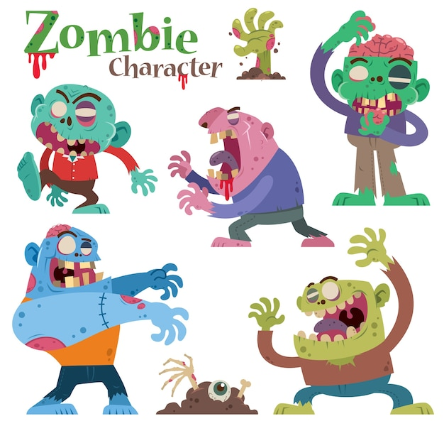 Set di personaggi dei cartoni animati zombie isolato su bianco