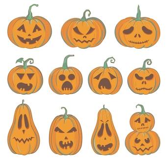 Set di zucche intagliate di halloween con facce buffe e spaventate, zucche vettoriali isolate su bianco, jack-o-lantern per halloween