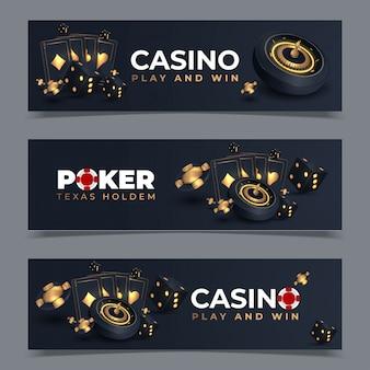 Set di banner casinò con fiches e carte. poker club texas holdem. illustrazione
