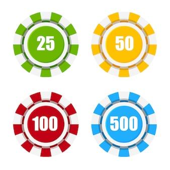 Set di fiches del casinò. fiches colorate da poker. vista dall'alto. illustrazione vettoriale isolato