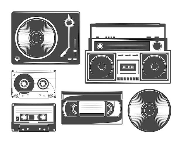 Set di icone di cassette, vinile, registratori e lettori players