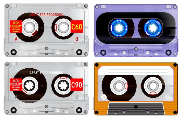Set di cassette audio retrò. vettore eps