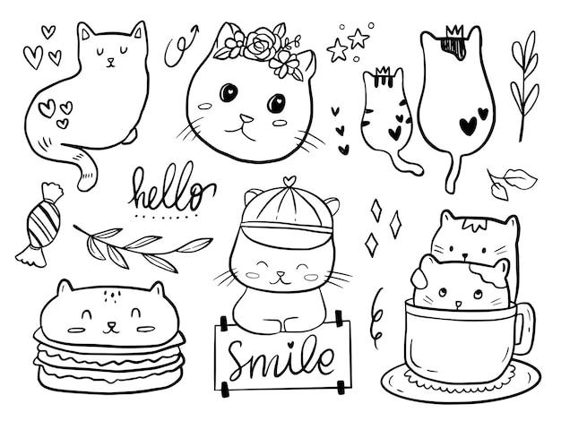 Set di coppia gatto doodle disegno fumetto per bambini da colorare e stampare