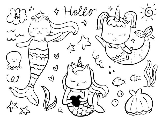 Set di disegno del fumetto di doodle di sirena gatto per bambini da colorare e stampare