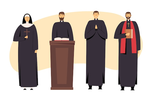 Set di personale cristiano cattolico, sacerdote uomo e donna suora in uniforme che tiene croce