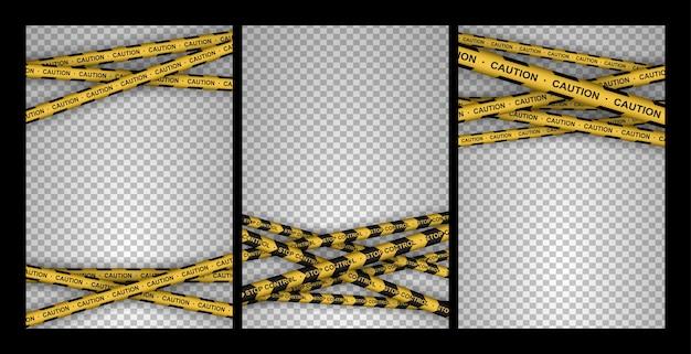 Insieme di cautela, pericolo, avvertimento, attenzione, nastri di polizia, segno, linea. linea nera e gialla a strisce.