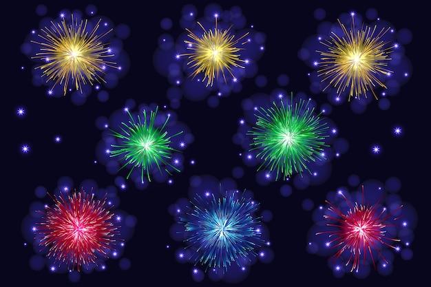 Set di celebrazione fuochi d'artificio scintillanti multicolori.