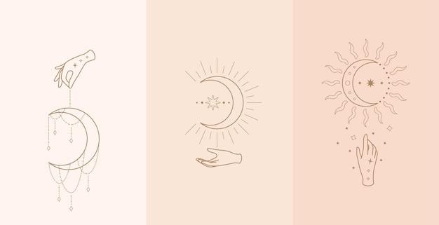 Set di talismano celeste con mani di donna. illustrazione in stile boho
