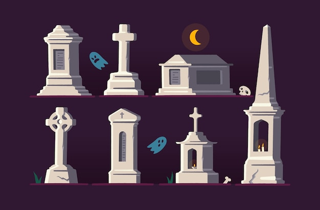 Set di cimitero con croci e lapidi