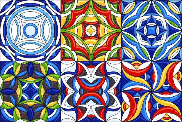 Set di modelli di piastrelle di ceramica. splendidi modelli senza cuciture. può essere utilizzato per il motivo della carta da parati che riempie lo sfondo della pagina web o le trame di superficie.