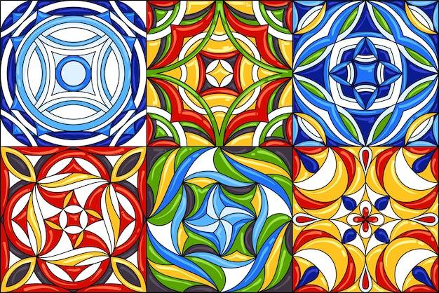 Set di modelli di piastrelle di ceramica. splendidi modelli senza cuciture.