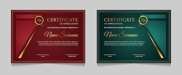 Set di design modello di certificato con forme moderne di lusso oro