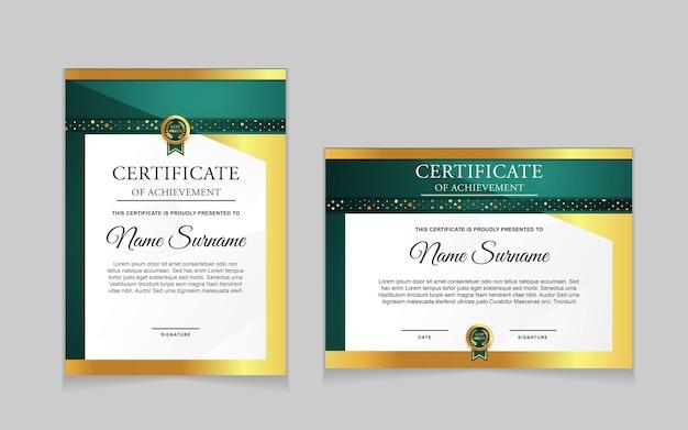 Set di modelli di certificati con forme moderne verdi e lussuose