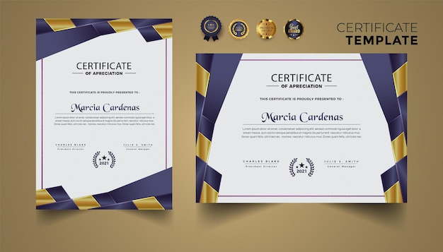 Set di design del modello di certificato con lusso moderno premium