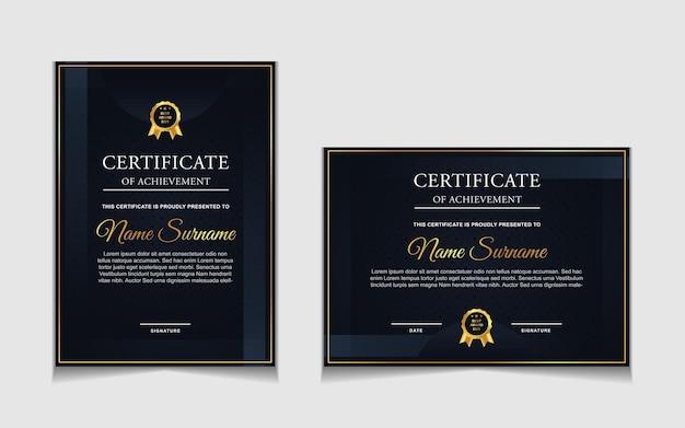 Set di design modello di certificato con blu navy e forme moderne di lusso