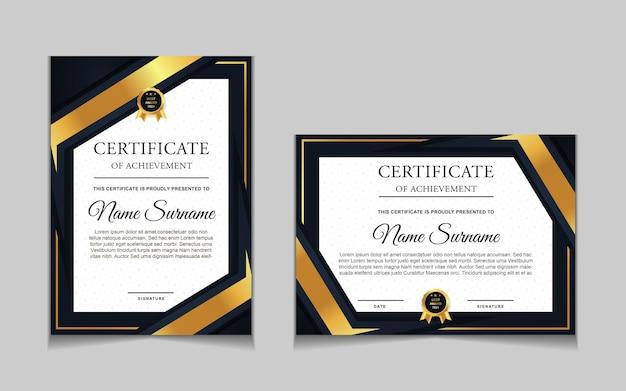 Set di modelli di certificati con forme moderne blu navy e di lusso