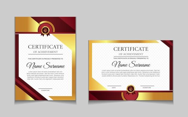 Set di modelli di certificati con forme moderne rosse e lussuose