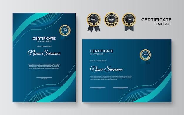 Impostare il modello di certificato con colore poligonale dinamico e futuristico geometrico verde blu e sfondo moderno. design certificato blu in stile professionale.