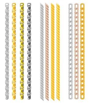 Set di catene fatte di diversi metalli su bianco.