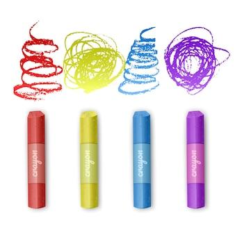 Set di pastelli a gesso dei colori dell'arcobaleno, album
