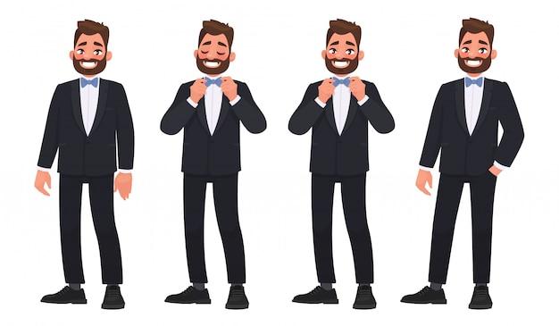 Set di caratteri un uomo barbuto in giacca e cravatta con un papillon. lo sposo
