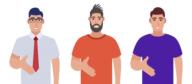 Set di carattere uomo barbuto saluta. uomini barbuti che danno la posa della stretta della mano e che sorridono con il gesto di benvenuto.