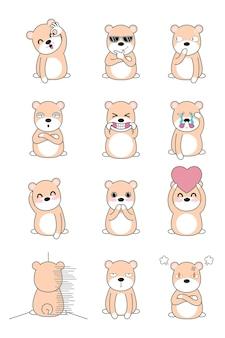 Set di personaggio dei cartoni animati orso grasso. Vettore Premium