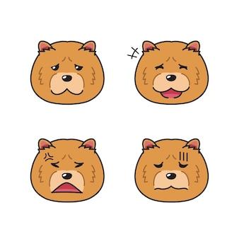 Set di volti di cane chao chao personaggio che mostrano diverse emozioni per il design.