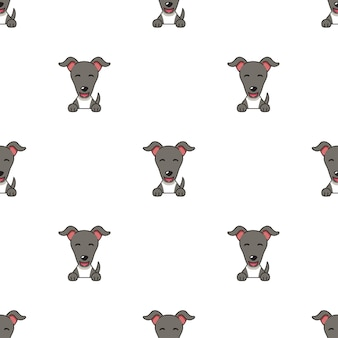 Set di facce di cane levriero di caratteri che mostrano diverse emozioni per il design.