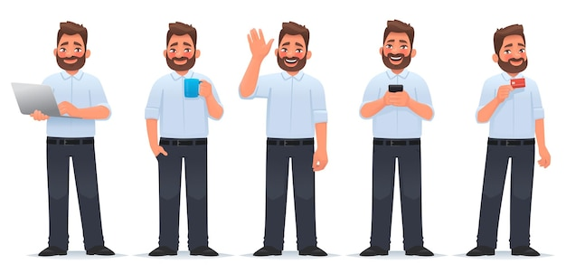 Set di caratteri uomo felice un uomo d'affari tiene un laptop una tazza di tè uno smartphone una carta di credito