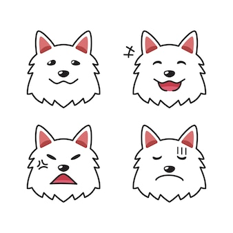 Set di facce di cane bianco di carattere che mostrano diverse emozioni per il design.