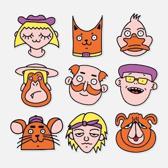 Set di personaggi disegni di illustrazione vettoriale bambino in stile adesivo cartone animato
