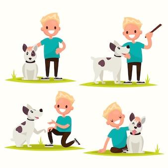 Set di caratteri. ragazzo con il suo amato cane.