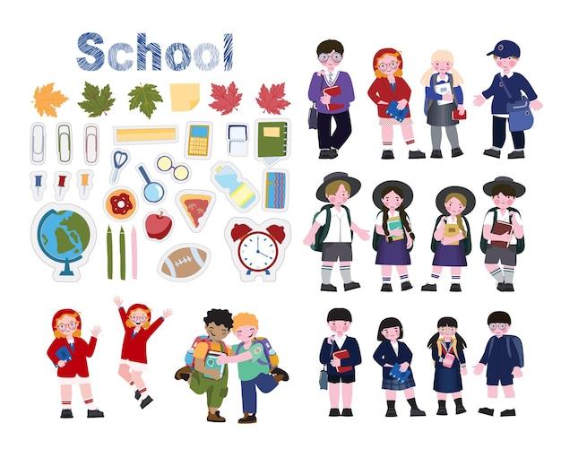 Set di personaggi bambini in uniformi scolastiche di diversi paesi
