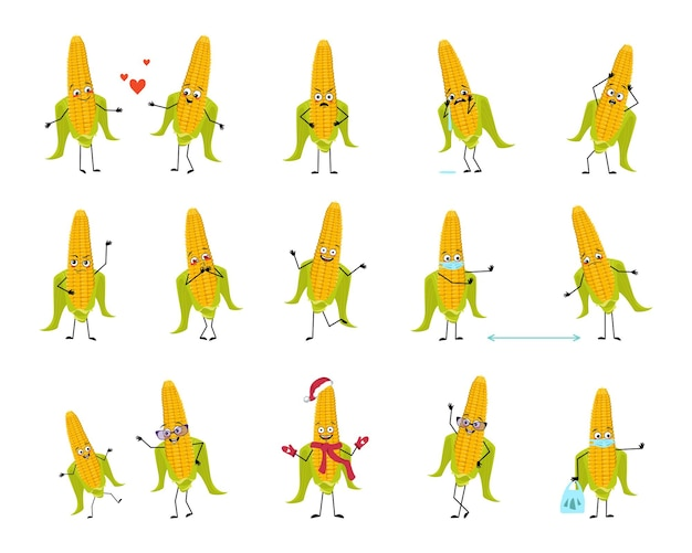 Set di personaggi mais con emozioni faccia mani e gambe sorridono o tristi verdure gialle con occhi che...