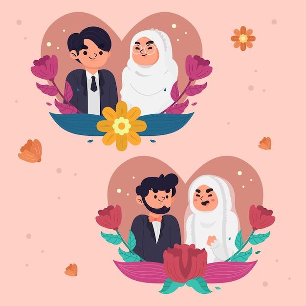 Set di personaggi simpatici sposi disegnati a mano