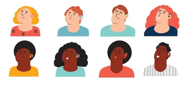 Un insieme di personaggi di età diverse con un apparecchio acustico bambini e adulti con problemi all'orecchio