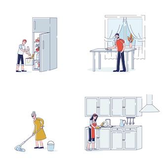 Set di personaggi che fanno le faccende domestiche per lavare i piatti della cucina
