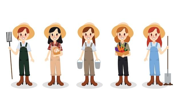 Set caratteri ragazza contadina che tiene una pala, tiene in mano le forchette, tiene le verdure, tiene le uova cartoon vector