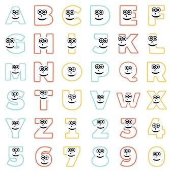Un insieme di caratteri sotto forma di lettere e numeri con una faccia eccentrica, clipart vettoriali.