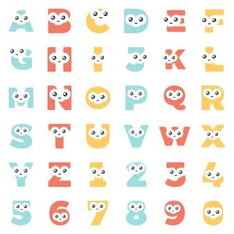 Impostare caratteri a forma di lettere e numeri con un viso carino, clipart vettoriali.