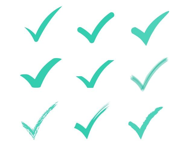 Set di icona del segno di spunta icona della lista di controllo del segno di spunta verde su sfondo bianco