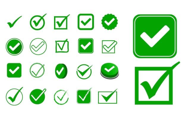 Set di segni di spunta o opzione di segno sbagliato e giusto in stile piatto vettoriale eps