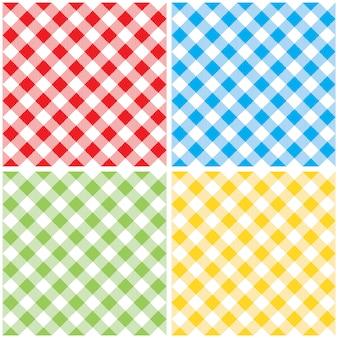 Impostare il modello senza cuciture diagonale tovaglia colorata a scacchi